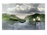 Henry Hudson's Ship, Half Moon, Meets Native Americans in the Hudson River Highlands, c.1609 Giclee Print