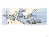 Hudson's Map of His Voyages in the Arctic, Published in 1612 Impressão giclée