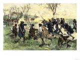 American Minutemen Fight to Hold Off the British Army at Concord Bridge, April 10, 1775 Giclée-Druck