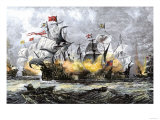 English Warship, Vanguard, Attacking the Spanish Armada, c.1588 Stampa giclée