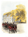 British Army Burning the White House in 1814 during the War of 1812 Premium Giclee Print