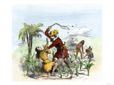 Cruelty of the Spanish Encomienda System on a Sugar Plantation, Santo Domingo Giclee Print