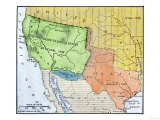 Map of the Territory Ceded by Mexico to the U.S. after the Mexican-American War, c.1848-1853 Giclee Print