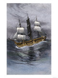 Old Wooden Whaling-Ship under Sail Premium Giclee Print