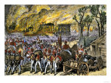 Capture and Burning of Washington D.C. by the British in 1814 Premium Giclee Print