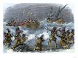 Native Americans on Block Island Attacked by Massachusetts Bay Colony Governor John Endicott Giclee Print