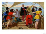 First View of the New World by Columbus and His Crew Aboard the Santa Maria, c.1492 Giclee Print