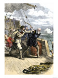 Mutineers Send Henry Hudson and His Son Overboard to Die Adrift in a Small Boat in the Arctic 1611 Premium Giclee Print
