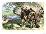 Native Americans Bringing Beaver Pelts to White Traders Giclee Print