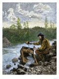 Prospector Washing Pebbles from a Stream Using a Cradle Device to Sparate Gold Nuggets Premium Giclee Print