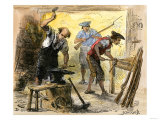 Gunsmiths Forging Muskets for the Minutemen Before the American Revolution, c.1770 Giclee Print