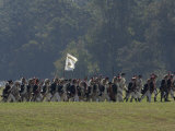 Continental Army Soldiers Reenact a March at Yorktown Battlefield, Virginia Photographic Print