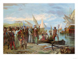 Departure of Columbus&#39; First Expedition from Palos, Spain, c.1492 Giclee Print
