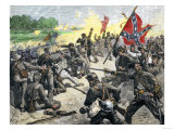 Confederate Louisiana Brigade Throwing Stones at Advancing Federal Army of the Potomac, c.1862 Giclee Print