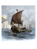 Danish Viking Ship, Raven, at Sea Giclee Print