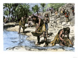 Caribbean Natives Washing Gold for the Spanish Conquerors Giclee Print