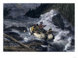 Fur-Traders' Canoes Imperiled by Rapids on the Red River of the North Giclee Print