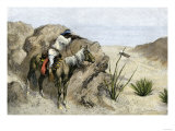 Apache Warrior Ambushing a Covered Wagon in the Southwest, c.1800 Giclee Print
