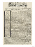 The Massachusetts Spy Newspaper, on the First Anniversary of the Boston Massacre, c.1771 Giclee Print