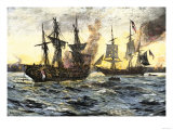 John Paul Jones in Command of the Ranger in Battle with the British Ship Drake Giclee Print