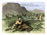 General Custer's Scout Surrounded by Hostile Arapahoes in the Black Hills, Dakota Territory, c.1874 Premium Giclee Print