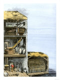 Cutaway View of a Water-Powered Mill for Grinding Grain Into Flour Giclee Print