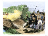 Minuteman Isaac Davis Killed Holding British Redcoats at North Bridge, Battle of Concord, c.1775 Giclee Print