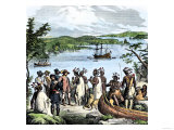 Henry Hudson Meeting with Native Americans Along the Hudson River, c.1609 Premium Giclee Print