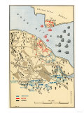Map of Battle of Yorktown where the British Army Was Defeated by the American and French, c.1781 Giclee Print
