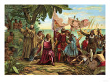 Landing of Columbus Expedition on the Island of Guanahane in 1492 Giclee Print