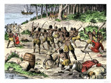 Caribbean Natives Massacre the Spaniards Left at La Navidad by Columbus in 1492 Giclee Print
