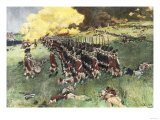 British Army Marching in Formation Up Breed's Hill in the Battle of Bunker Hill, c.1775 Giclee Print
