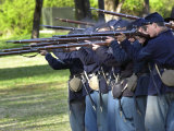 Union Infantry Reenactors Firing Their Rifles at Shiloh National Military Park, Tennessee Photographic Print