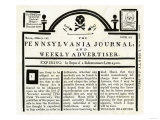 Pennsylvania Journal and Weekly Advertiser Protesting the Stamp Act, c.1765 Lámina giclée