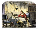 Christopher Columbus Studying a Map in His Studio in Spain 1400 Giclee Print