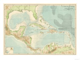 Chart of the West Indies Sea Depths and Land Elevations Reproduction procédé giclée