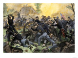 Union Troops under General Ulysses S. Grant Recapturing Artillery during the Battle of Shiloh Reproduction procédé giclée