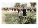 Surrender of British Commander Burgoyne to American General Gates at Saratoga, New York, c.1777 Giclee Print