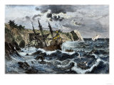 Wreck of Columbus's Flagship Santa Maria on the Coast of Hispaniola, c.1492 Giclee Print