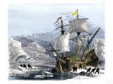 Willem Barents Expedition in Arctic Ice at Nova Zembla Searching for a Northeast Passage, c.1500 Giclee Print