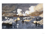 Union Fleet Bombarding Fort Sumter to Retake Charleston Harbor from the Confederates, c.1863 Giclee Print