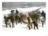Native American Prisoners Marched across the Snowy Prairie by General George Custer, c.1868 Giclee Print