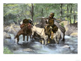 White Trapper Crossing a Mountain Stream Premium Giclee Print