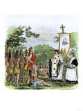 Spanish Missionary Father Garzes Instructing Native Americans Giclee Print