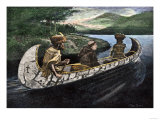 Jacques Marquette and Louis Joliet in a Canoe on the Upper Mississippi River, c.1673 Giclee Print