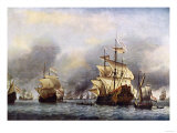 Sea Fight Between England and Holland during the Dutch War, June 1666 Giclee Print