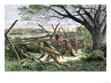 Native Americans Preparing to Attack a White Settler's Home Giclee Print