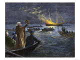 "The ""Gaspee"" is Burned by Rebels off Rhode Island, Giclee Print"