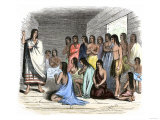 Native Americans under Instruction in a Spanish Mission Giclee Print