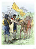Jacques Cartier Embraced by Donnacona, a Native Canadian Huron Chief, Gaspee Peninsula, c.1535 Giclee Print